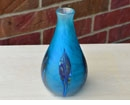 Blue Frosty Vase with Leaves