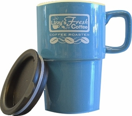 LIZZY'S PORCELAIN MUG WITH TRAVEL LID 16 oz