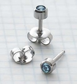 89028 March Stainless Steel Bezel Universal Ear Piercing Stud doz pr