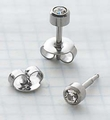 89029 April Stainless Steel Bezel Universal Ear Piercing Stud - doz pr