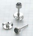 89030 May Stainless Steel Bezel Universal Ear Piercing Stud - doz pr