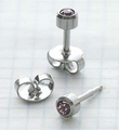 89031 June Stainless Steel Bezel Universal Ear Piercing Stud doz pr