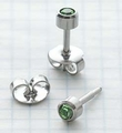 89033 August Stainless Steel Bezel Universal Ear Piercing Stud - doz pr