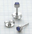 89034 September Stainless Steel Bezel Universal Ear Piercing Stud - doz pr