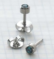 89037 December Stainless Steel Bezel Universal Ear Piercing Stud - doz pr
