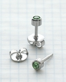 89071 Stnls Steel Bezel Universal Ear Piercing Stud Jan-Dec 12 pair assrt