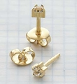 Gold prong setting Universal Ear Piercing Stud