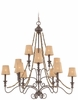 Jeremiah Lighting (27512-SI) Quincy Three Tier Chandelier in Seville Iron & Burlap Fabric Shade Fabric