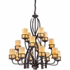 16 Light Kyle Chandelier shown in Imperial Bronze by Quoizel Lighting - KY5016IB