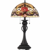 2 Light Bouquet Tiffany Table Lamp shown in Vintage Bronze by Quoizel Lighting - TF1559TVB
