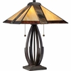 2 Light Destiny Tiffany Table Lamp shown in Valiant Bronze by Quoizel Lighting - TF1181TVA