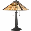 2 Light Mill Run Tiffany Table Lamp shown in Vintage Bronze by Quoizel Lighting - TF1612TVB