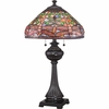 2 Light Pink Dragonfly Tiffany Table Lamp shown in Imperial Bronze by Quoizel Lighting - TF1571TIB