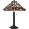2 Light Ross Tiffany Table Lamp shown in Vintage Bronze by Quoizel Lighting - TF1509TVB