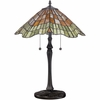 2 Light Sanders Tiffany Table Lamp shown in Vintage Bronze by Quoizel Lighting - TF1510TVB