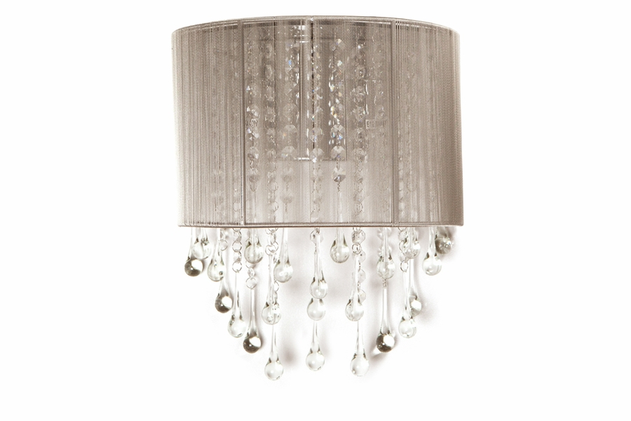 2 Light Silk String Wall Sconce With Crystal Accents shown in – Chandelier Sconces Wall