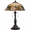 2 Light Tea Rose Tiffany Table Lamp shown in Imperial Bronze by Quoizel Lighting - TF1600TIB