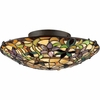 2 Light Tiffany Flush Mount shown in Vintage Bronze by Quoizel Lighting - TF1396SVB