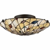 2 Light Tiffany Flush Mount shown in Vintage Bronze by Quoizel Lighting - TF1409SVB