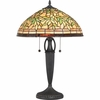 2 Light Woodward Tiffany Table Lamp shown in Vintage Bronze by Quoizel Lighting - TF1613TVB