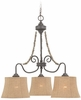 Jeremiah Lighting (27523-SI) Quincy Down Chandelier in Seville Iron & Burlap Fabric Shade Fabric