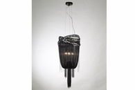 3 Light Jewelry Chain and Crystal Hanging Fixture shown in Black Chrome / Smoke Crystal by Avenue Lighting