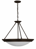 3 Light Pendant Lighting with white swirl glass diffuser shown in Oil-rubbed Bronze by AFX Lighting