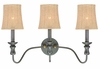 Jeremiah Lighting (27503-SI) Quincy 3 Light Vanity in Seville Iron & Burlap Fabric Shade Fabric