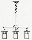 Arroyo Craftsman (HCH-4L/4) Hand-Crafted 4 Inch Huntington 4 Light Chandelier