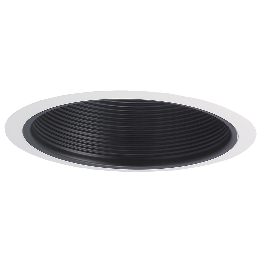 recessed trim black stepped baffle with plastic ring by nora lighting. Black Bedroom Furniture Sets. Home Design Ideas