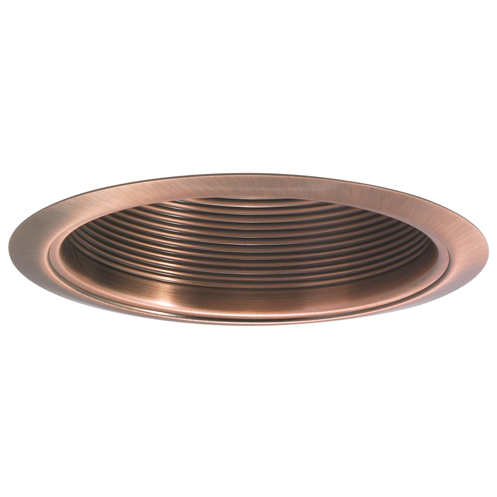 6 inch recessed trim copper stepped baffle with copper metal ring by nora lig. Black Bedroom Furniture Sets. Home Design Ideas