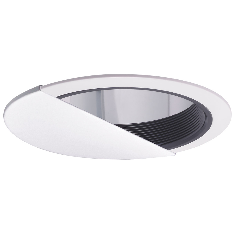 6 Inch Recessed Trim Metal Baffle Wall Wash Clear Reflector And White Plastic