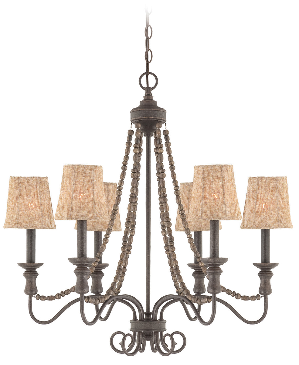 Jeremiah Lighting (27526-SI) Quincy Chandelier in Seville Iron & Burlap Fabric Shade Fabric