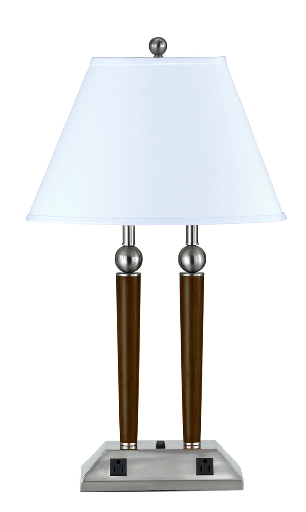 metal desk lamp with 3 way push button base switch and 2 power outlets. Black Bedroom Furniture Sets. Home Design Ideas