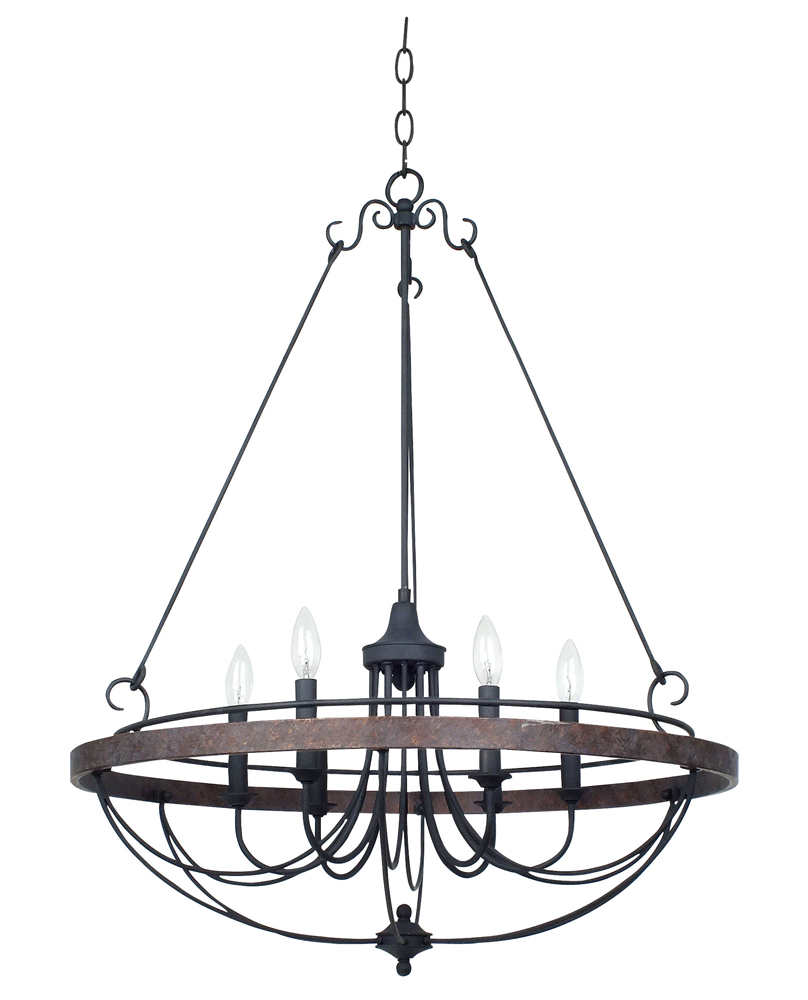 60W x 6 Helena Forged Iron 6 Light Chandelier shown in