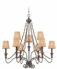 Jeremiah Lighting (27529-SI) Quincy Two Tier Chandelier in Seville Iron & Burlap Fabric Shade Fabric
