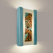 Abstract Wall Sconce 1 Light Fixture shown in Teal Crackle and Turquoise by A19 Lighting