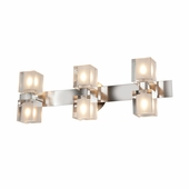 Access Lighting (23907) Astor 6-Light Crystal Vanity Fixture shown in Brushed Steel