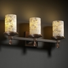 Justice Design (ALR-8533) Deco 3-Light Bath Bar from the Alabaster Rocks! Collection