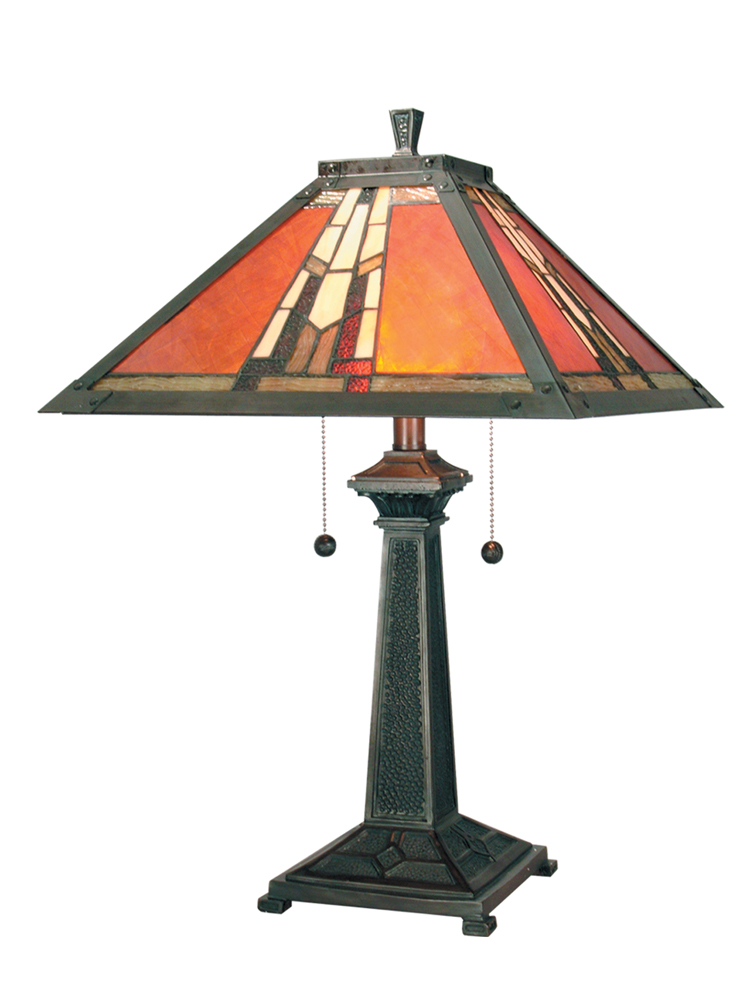 Dale Tiffany Lighting (TT100716) Amber Monarch Table Lamp shown in Mica Bronze Finish