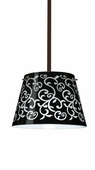 Amelia 12 Pendant shown in Bronze with Black Damask Glass Shade by Besa Lighting
