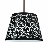 Amelia 18 Pendant shown in Bronze with Black Damask Glass Shade by Besa Lighting