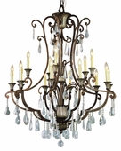 Antique 15 Light Chandelier shown in Antique Bronze by Trans Globe Lighting