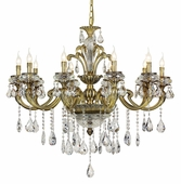 Antique Brass 10 Light Crystal Chandelier shown in Antique Brass by Trans Globe Lighting