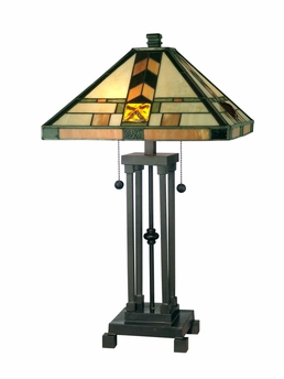 Dale Tiffany Lighting (TT10035) Martin Mission Style Table Lamp shown in Dark Antique Bronze Finish