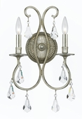 Crystorama (5012-OS-CL-MWP) Ashton 2 Light Clear Crystal Silver Sconce