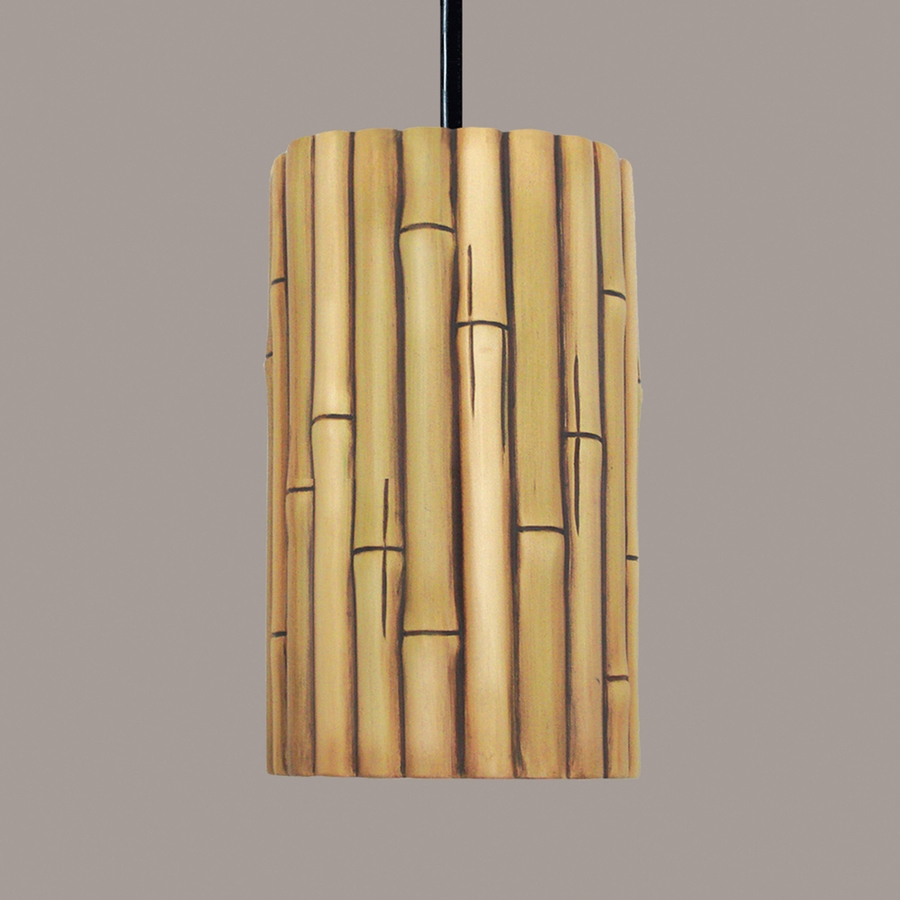 bamboo pendant 1 light fixture shown in cinnamon by a19 lighting bamboo pendant lighting