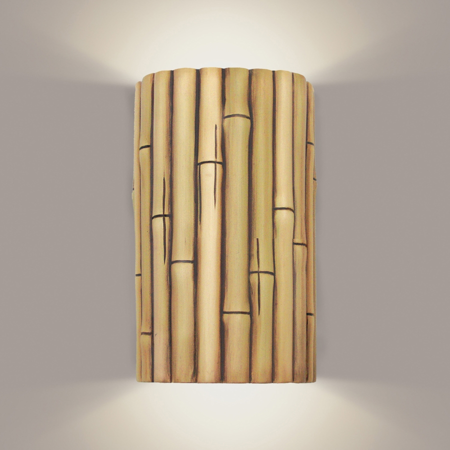bamboo wall sconce 1 light fixture shown in cinnamon by a19 lighting bamboo lighting fixtures