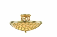 Bangle Interior 3 Light Semi-Flush Ceiling Mount shown in Silver Leaf with Antique Mistique Mist by Corbett Lighting