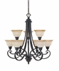 Designers Fountain (96189-NI) Barcelona 9 Light Chandelier in Natural Iron